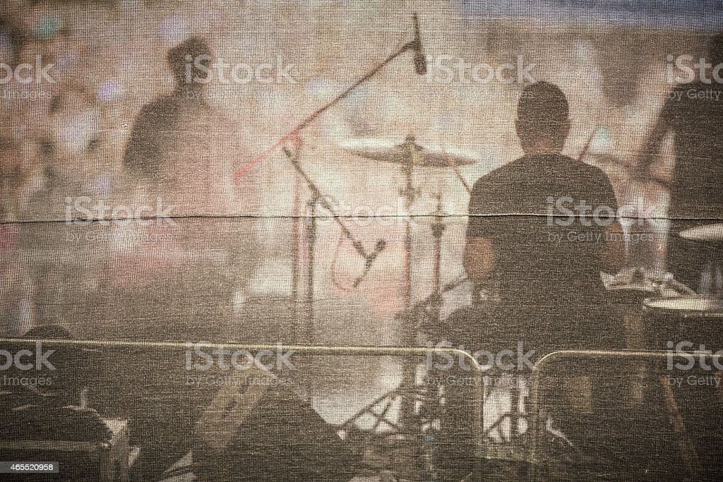 Band performing live on a stage stock photo