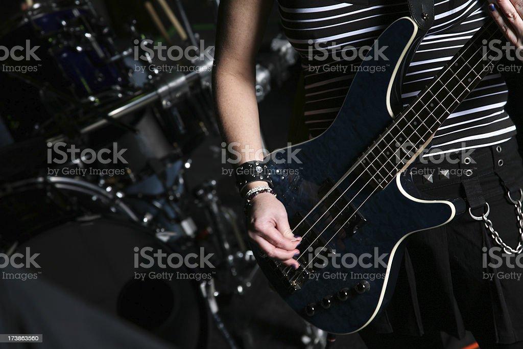 Band Player - Closeup of bass guitar royalty-free stock photo