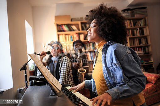Band playing and singing at home