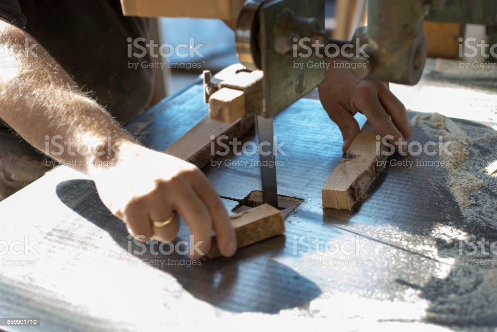 Band saw. Woodworking machine with wood cutting band. stock photo