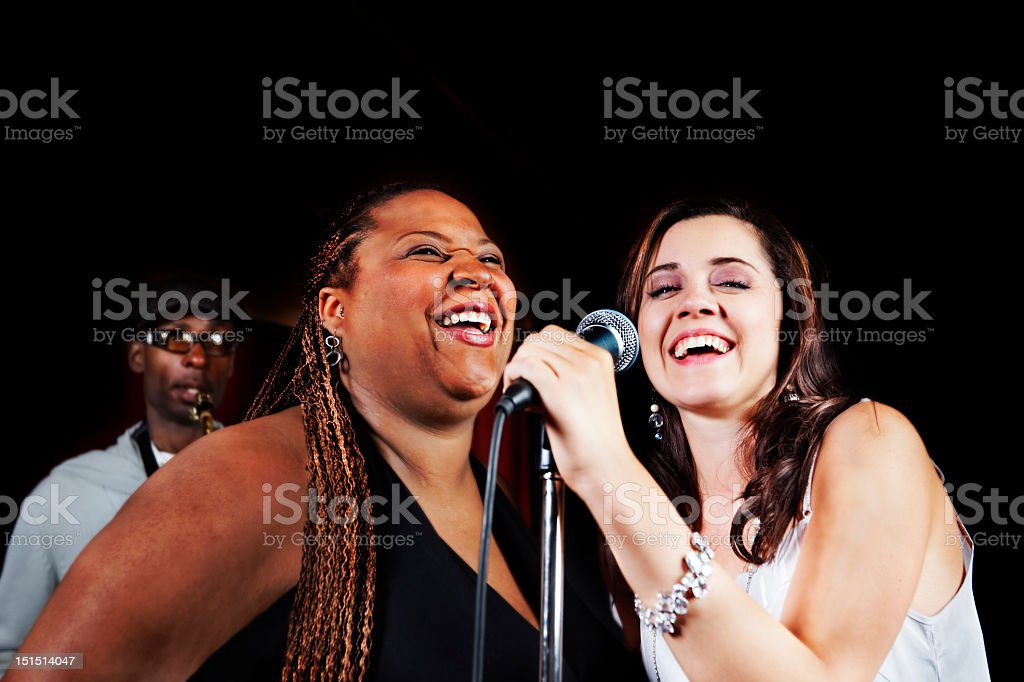 Band sings out stock photo