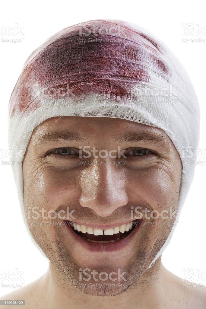 Bandage on blood wound head stock photo