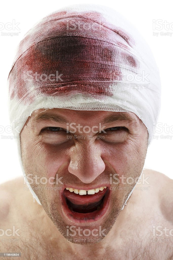 Bandage on blood wound head royalty-free stock photo
