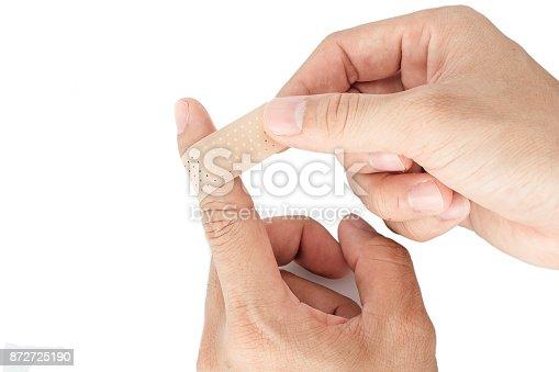 istock Bandage on the index finger isolate background 872725190
