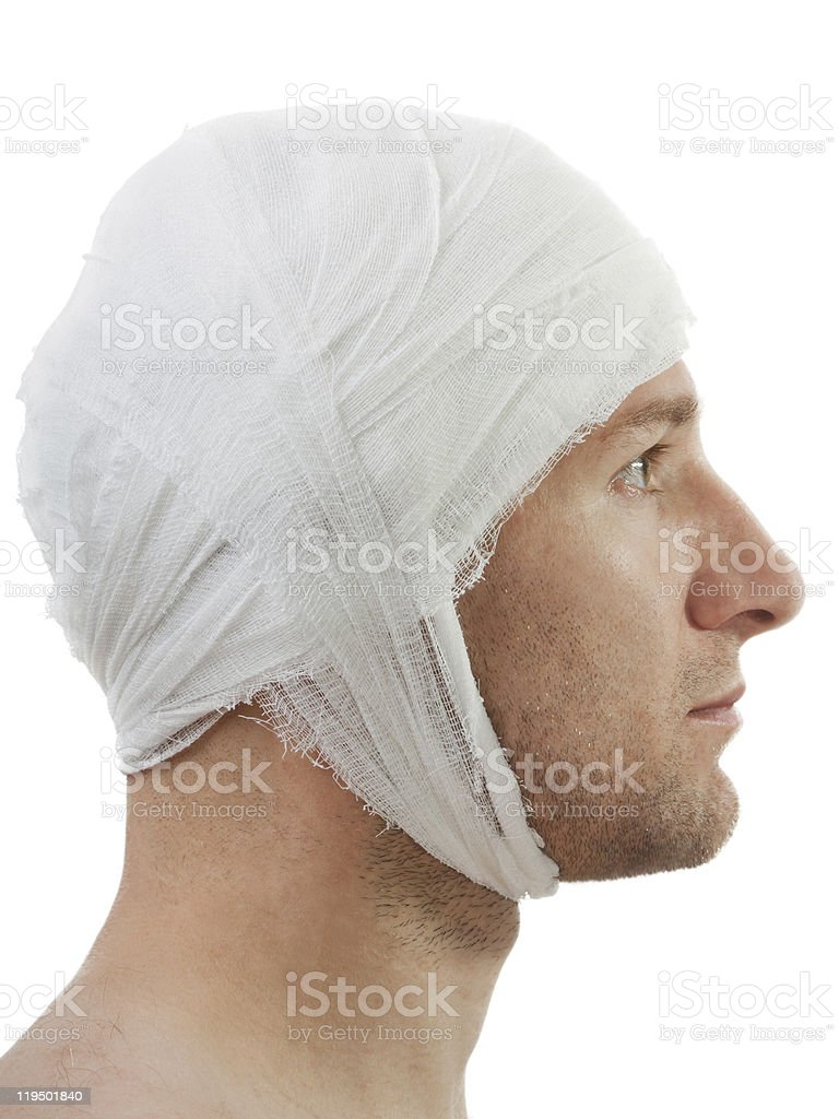 Bandage on wound head stock photo