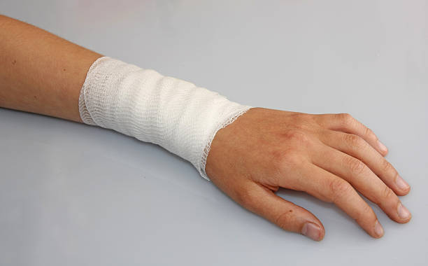 bandaged arm of a child stock photo