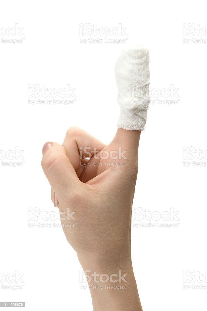 Bandaged finger royalty-free stock photo