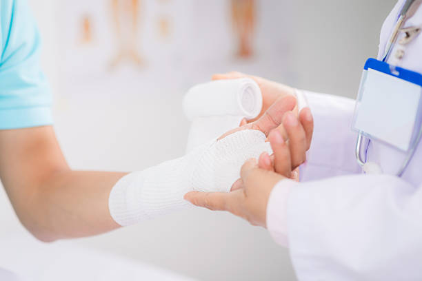 Bandaging wrist stock photo