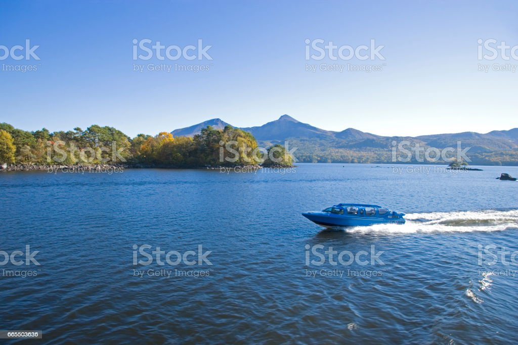 Bandai volcano from the Lake hibara in autumn stock photo