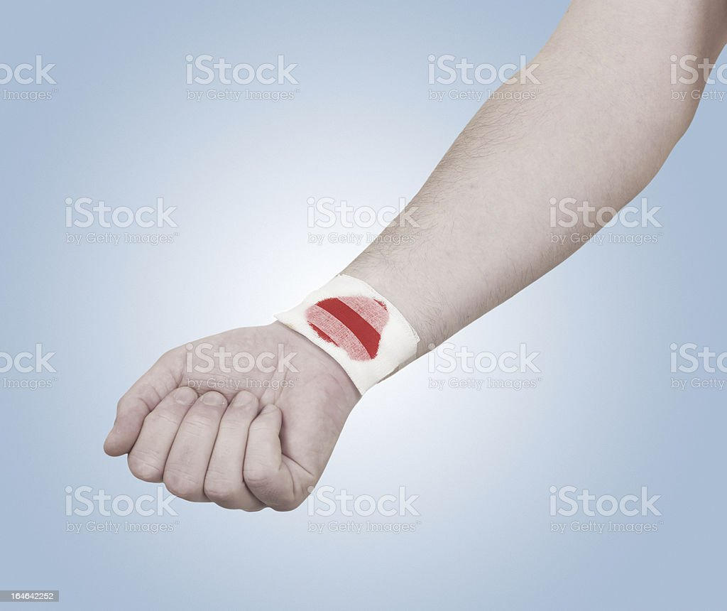 Band-aid on hand isloated  white background. royalty-free stock photo
