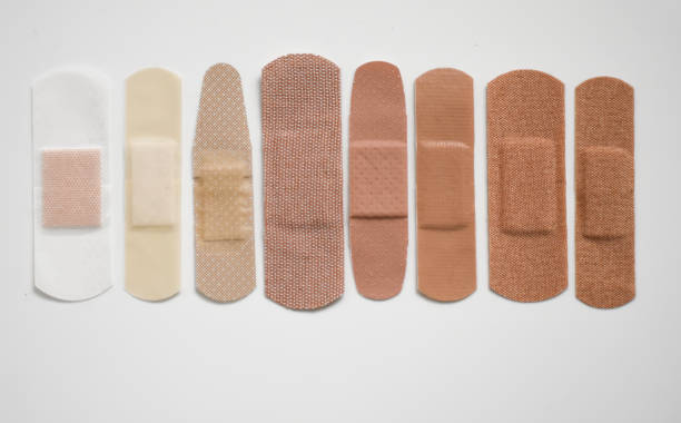 Band-aids In A Row stock photo
