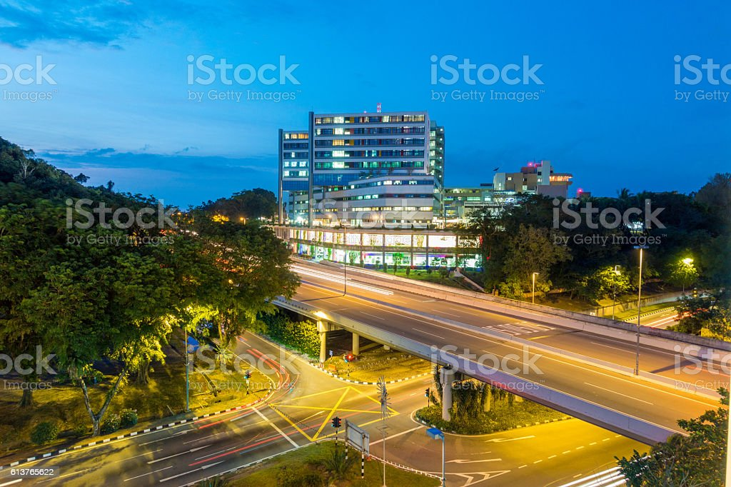 Bandar Seri Begawan, Brunei by night stock photo