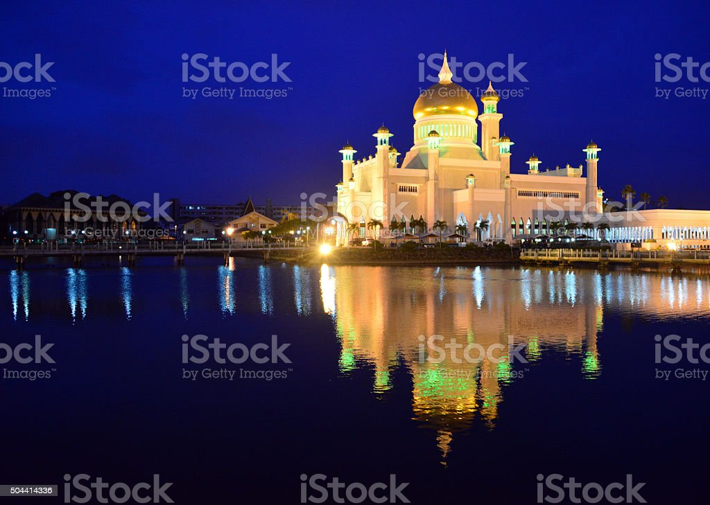Bandar Seri Begawan, Brunei: Sultan Omar Ali Saifuddien mosque stock photo