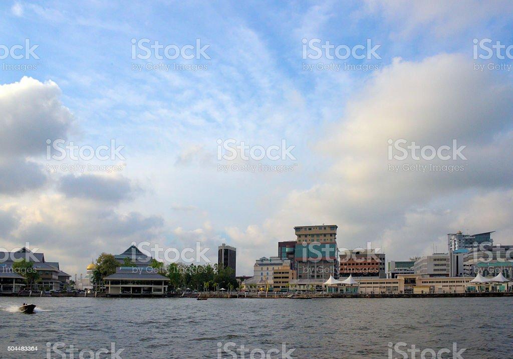 Bandar Seri Begawan - skyline of Brunei's capital stock photo