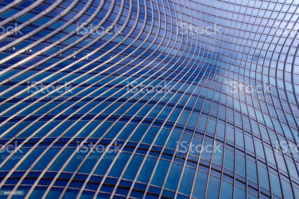 Banded curved abstract building background – Foto
