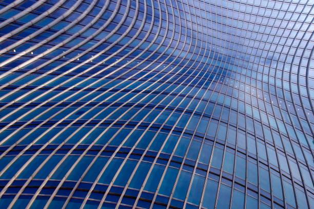 banded curved abstract building background - bogen bauen stock-fotos und bilder