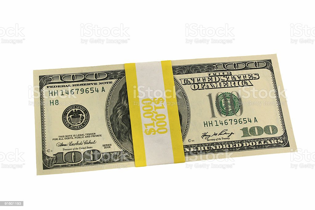 Banded one hundred dollar bills front side stock photo
