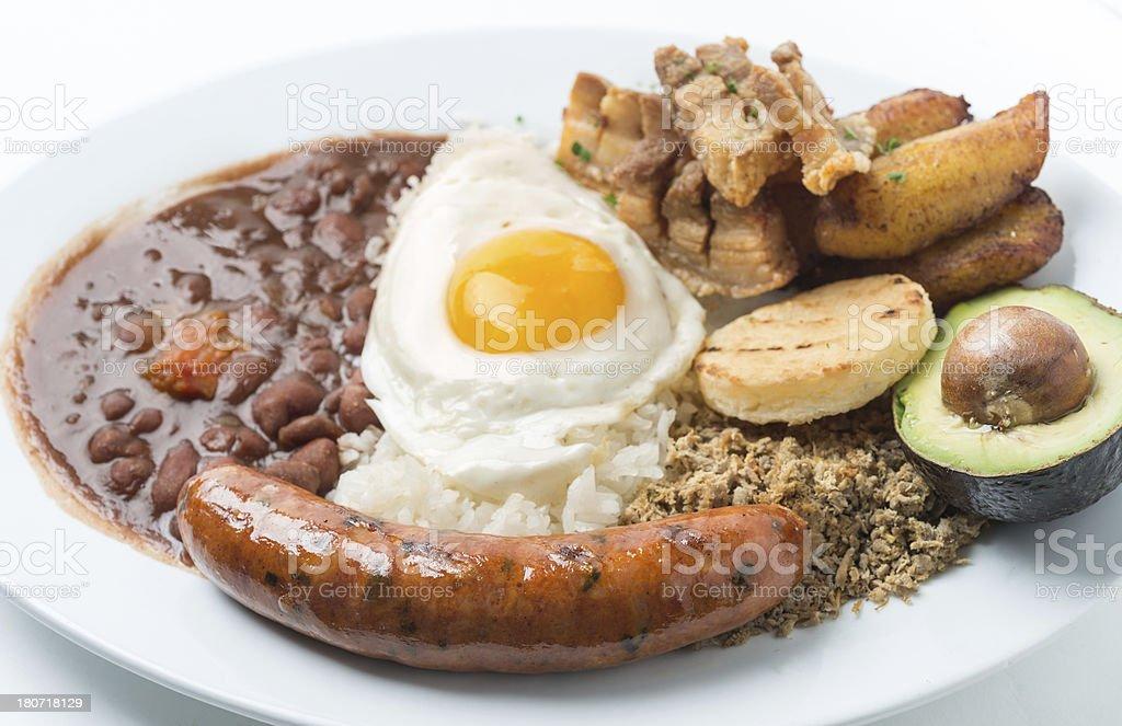 Bandeja Paisa (colombian food) stock photo