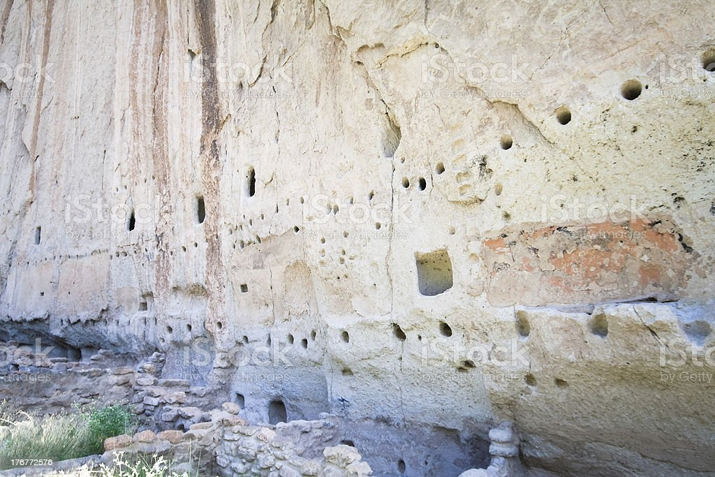 Bandelier National Monument New Mexico Native American Cliff Dwellings Remains royalty-free stock photo