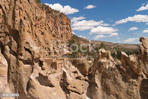 Ancient pueblo ruins at Bandelier National Monument near Santa Fe, New Mexico, USA.