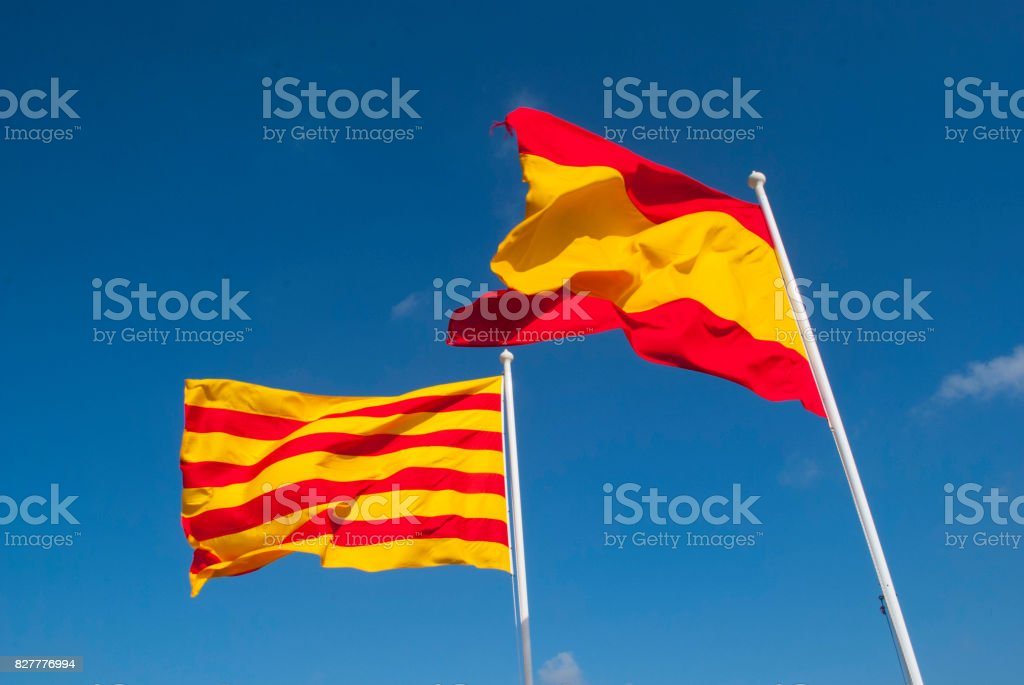 Bandera Española y Bandera Cuatribarra stock photo