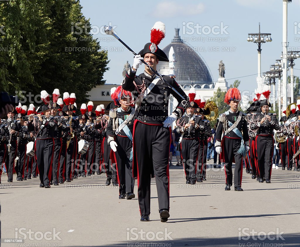 Bandmaster and band formation of the Carabinieri stock photo