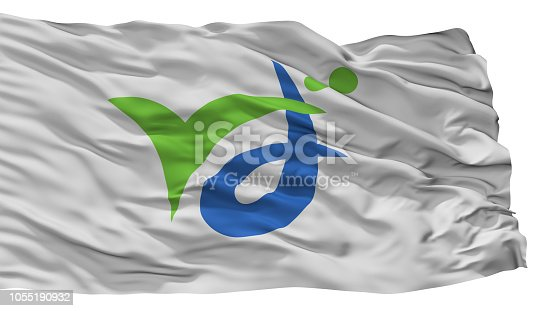 Bando City Flag, Country Japan, Ibaraki Prefecture, Isolated On White Background, 3D Rendering