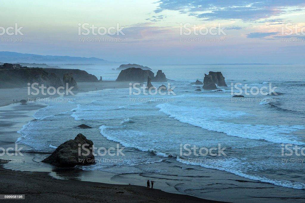 Bandon beach after sunset, Bandon, Oregon stock photo