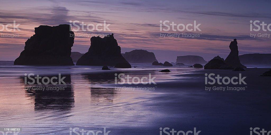 Bandon Beach Sea Stacks at Sunrise royalty-free stock photo