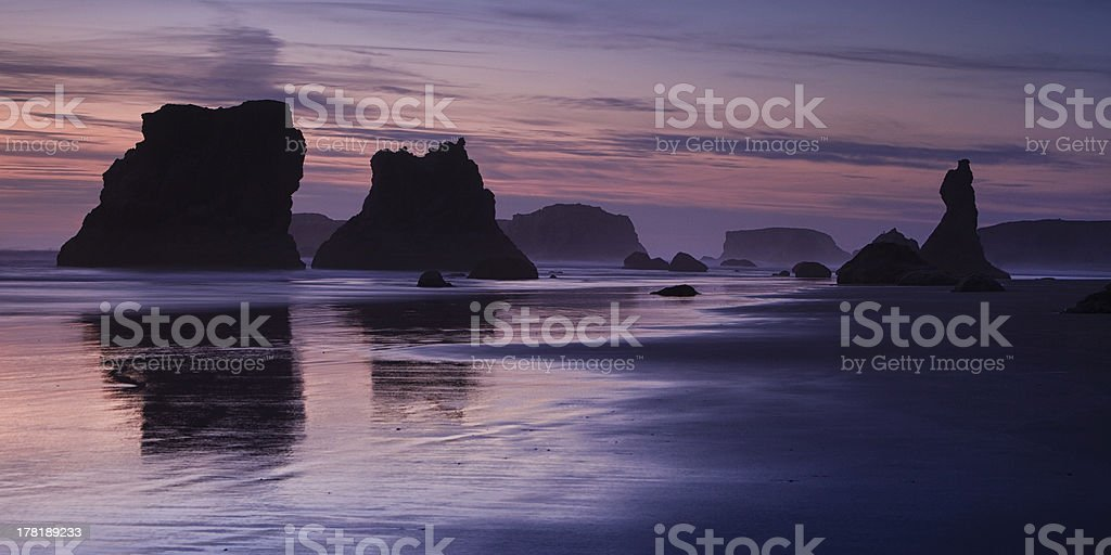 Bandon Beach Sea Stacks at Sunrise stock photo