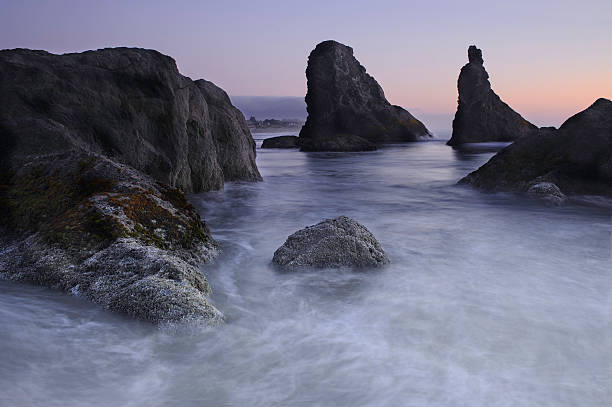 Bandon Beach Sea stacks Oregon at Sunset stock photo