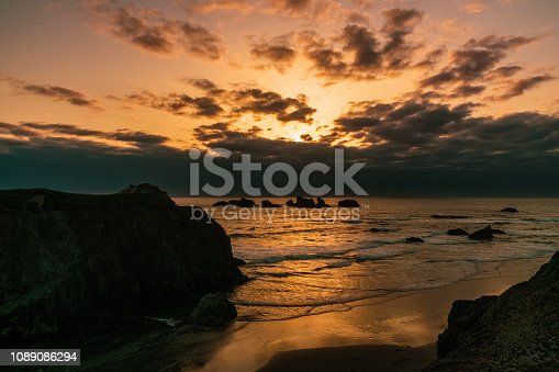 Bandon Beach at sunset from Face Rock Scenic Viewpoint, Pacific Coast, Oregon, USA.
