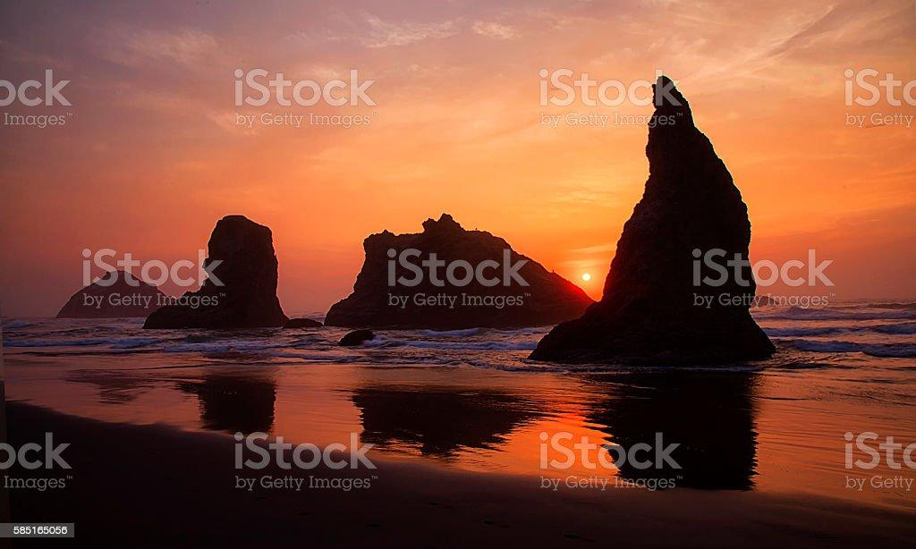 Bandon Beach Sunset stock photo