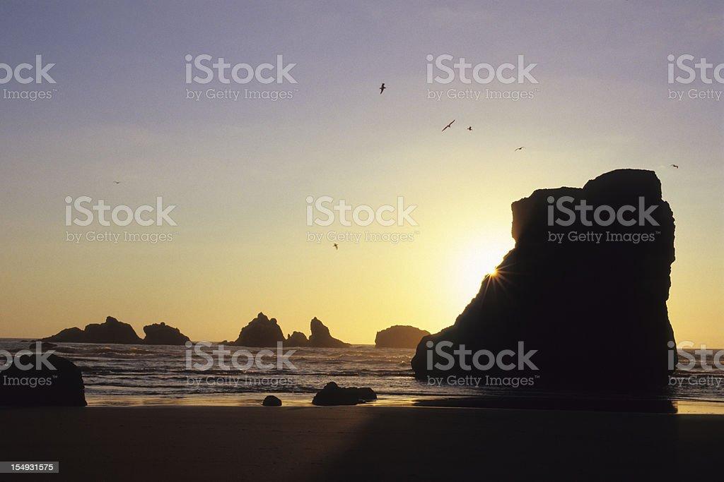 Bandon Sunset stock photo