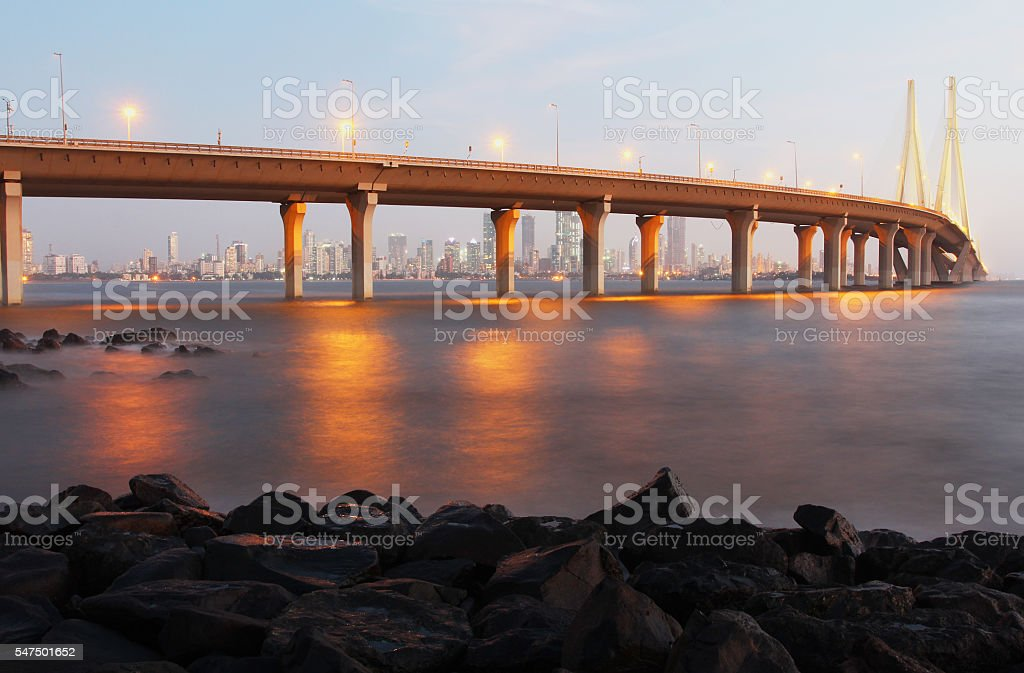 Bandra Worli Sea Link at dusk stock photo