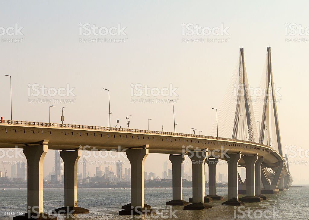 Bandra Worli Sea Link A late afternoon photo of the Bandra Worli Sea Link in Mumbai. 2015 Stock Photo