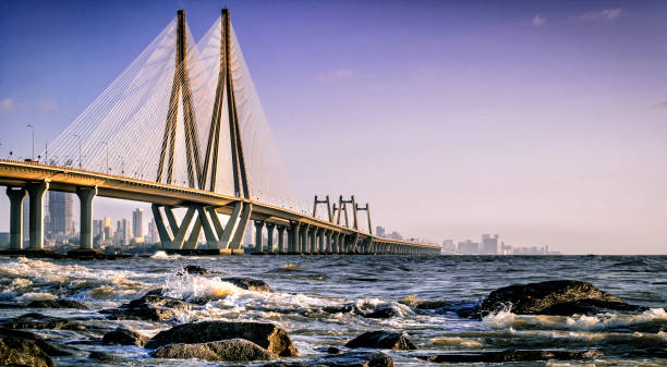 bandra worli zee koppeling - mumbai stockfoto's en -beelden
