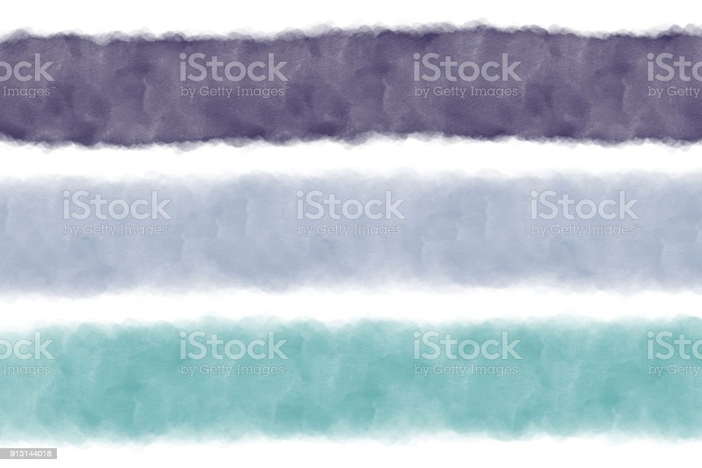 Bands of Blue, Turquoise and green watercolour brush strokes isolated on a whitebackground. stock photo
