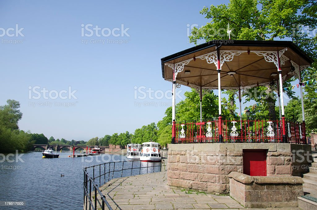 Bandstand by River Dee in City of Chester royalty-free stock photo