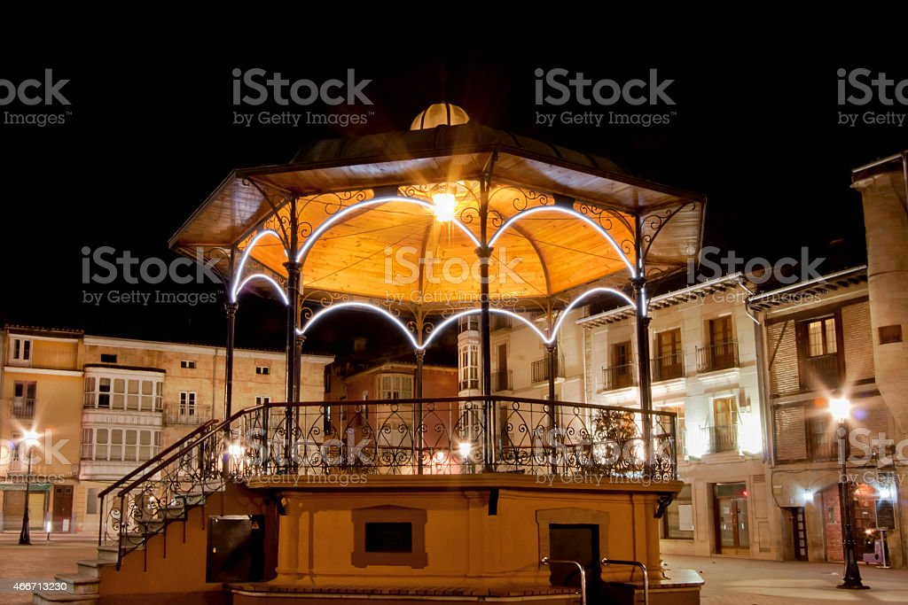 Bandstand illuminated at night. stock photo