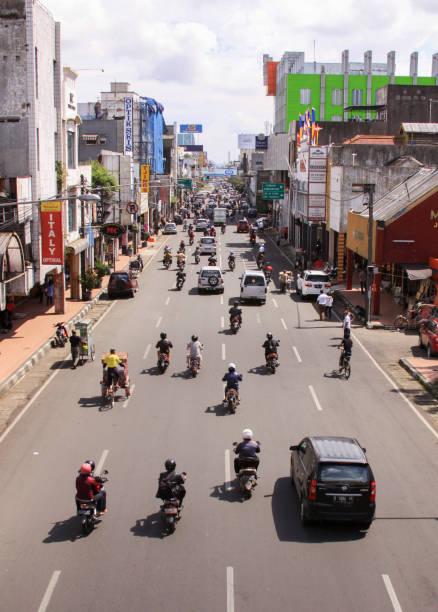Bandung center city busy traffic street, Indonesia stock photo