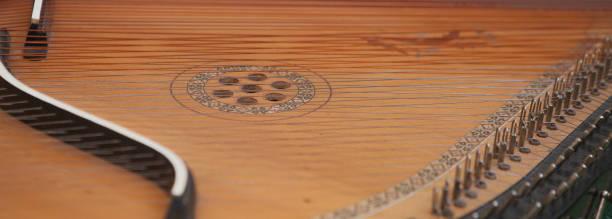Cтоковое фото Bandura close up, Ukrainian musical instrument. Ukrainian folk musical instrument - Bandura, decorated with beautiful patterns