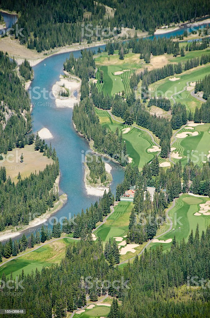 Banff Golf Course and Bow River Valley royalty-free stock photo
