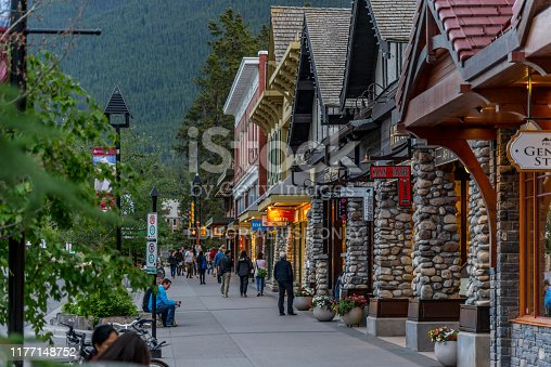 Banff, Alberta / Canada - 06/19/2015 Banff is a gateway to Sulpher Mountain and a must see for tourists.