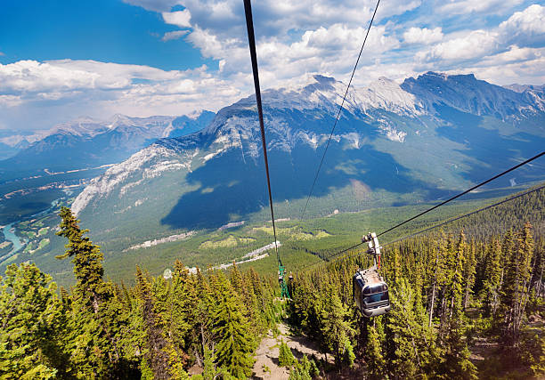banff national park gondola cable cars for canadian rockies vacation - banff national park stock photos and pictures
