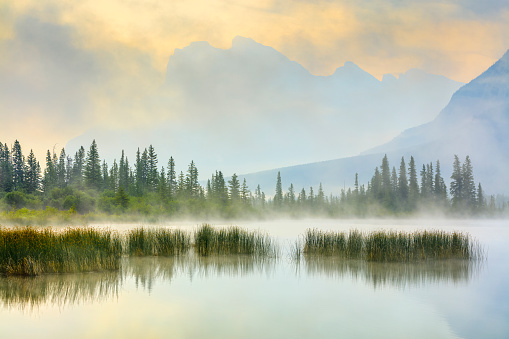 Mount Rundle and Vermillion Lakes at dawn in Banff National Park in the Canadian Rockies