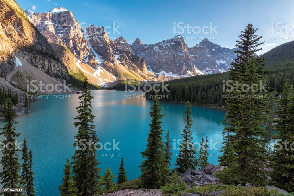 Banff National Park, Moraine lake at sunset, Alberta, Canada. stock photo