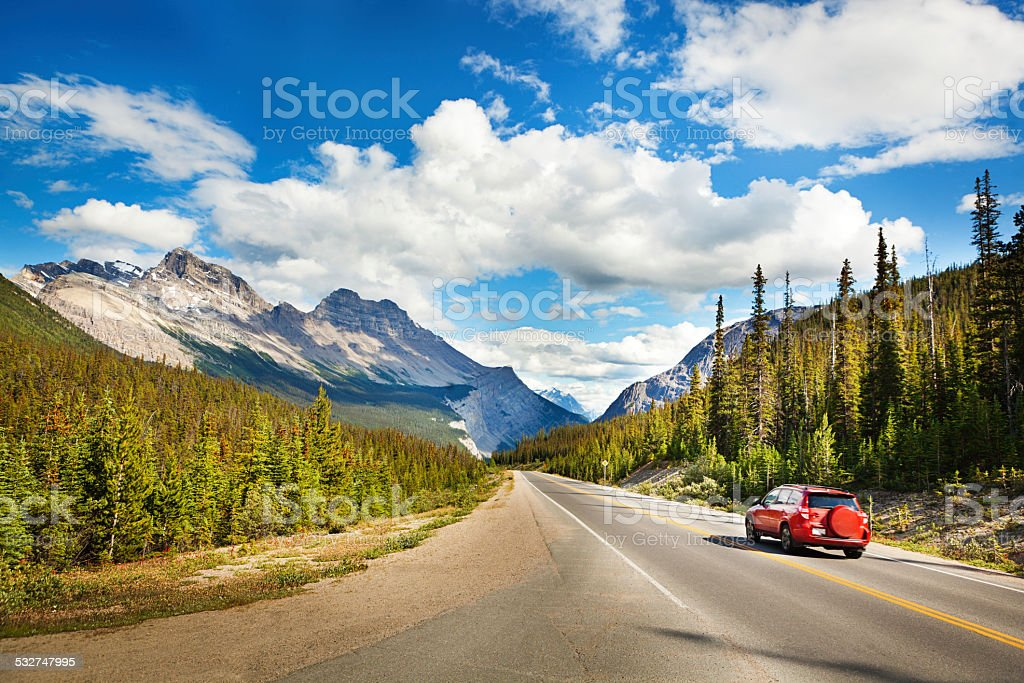 Banff National Park Road Trip Drive through Canadian Rocky Mountains stock photo