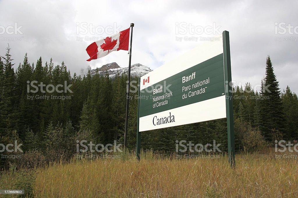 Banff National Parks Bilingual Sign stock photo