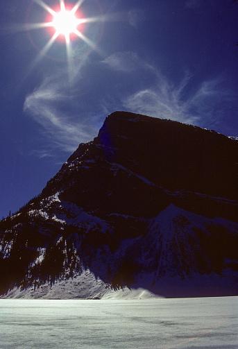 Banff NP - Lake Louise Sun shot - 1985. Scanned from Kodachrome slide.
